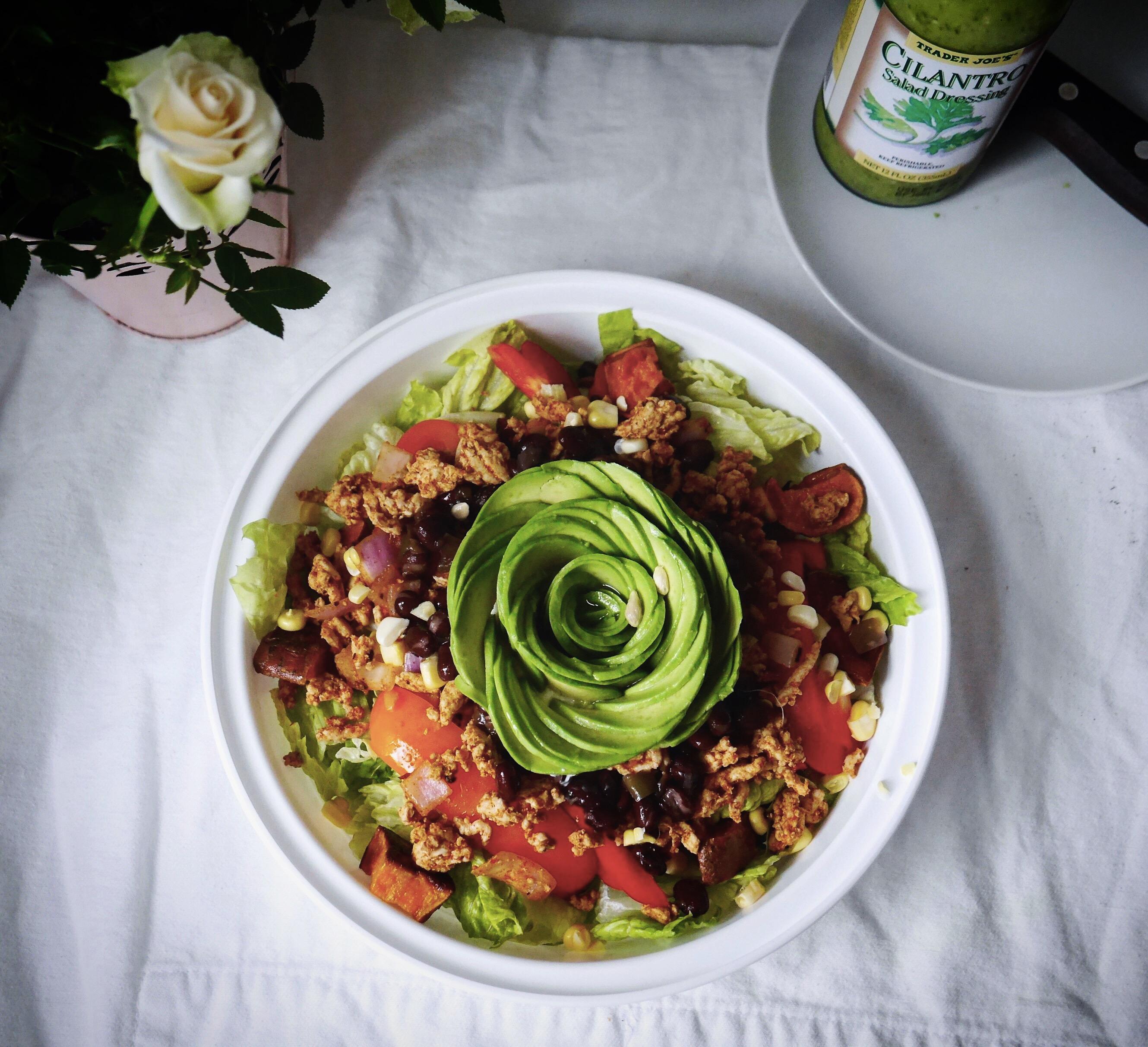 Taco salad with avocado rose
