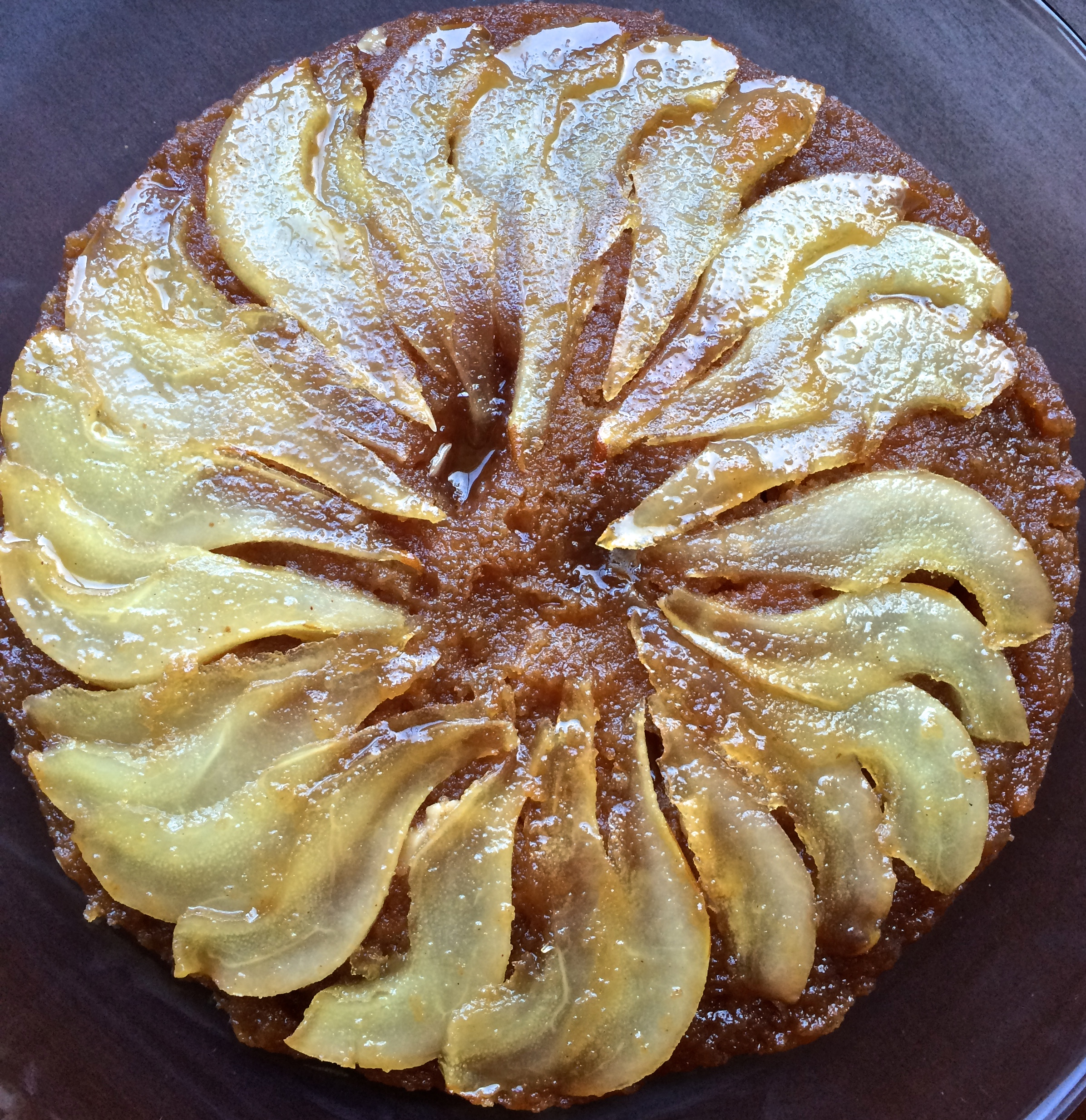 Upside-Down Caramelized Pear Cake with Honey-Ginger Whipped Cream