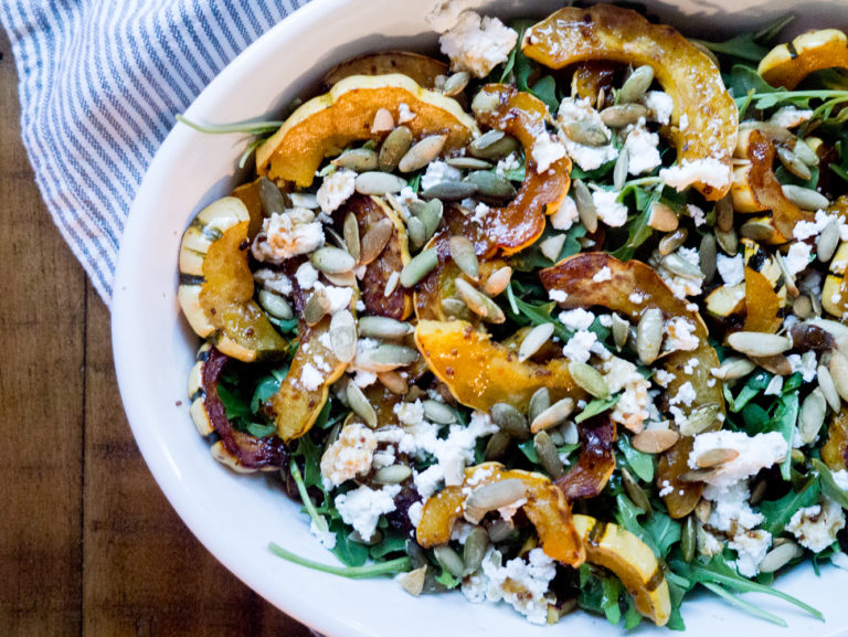 Maple Roasted Delicata Squash with Arugula and Goat Cheese
