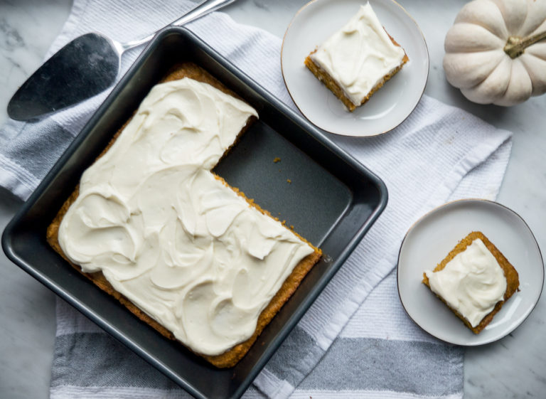 Lightened Up Pumpkin Bars with Cream Cheese Frosting